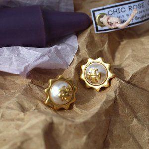 Tory Burch Sun Flower Pearl Stud Earrings